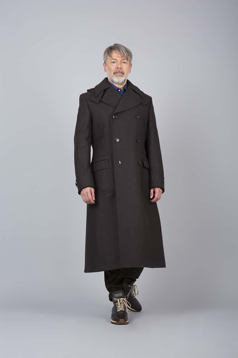 manteau russe long marron
