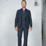veste ouverte costume bleu coton