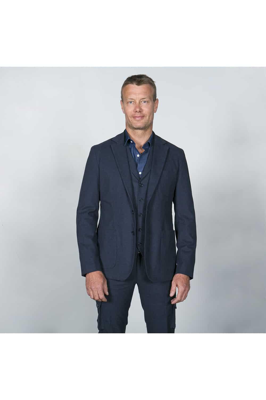 veste ouverte costume bleu coton tailleur