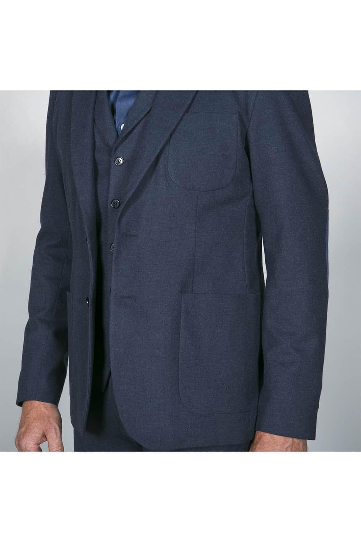 poche plaquée costume bleu coton