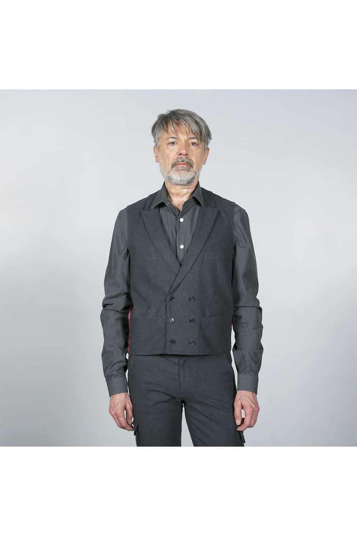 gilet face costume gris coton