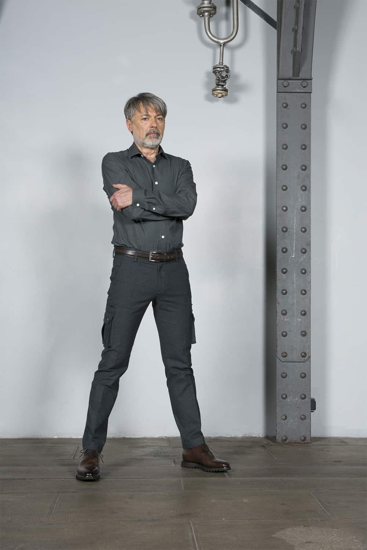 chemise costume gris coton