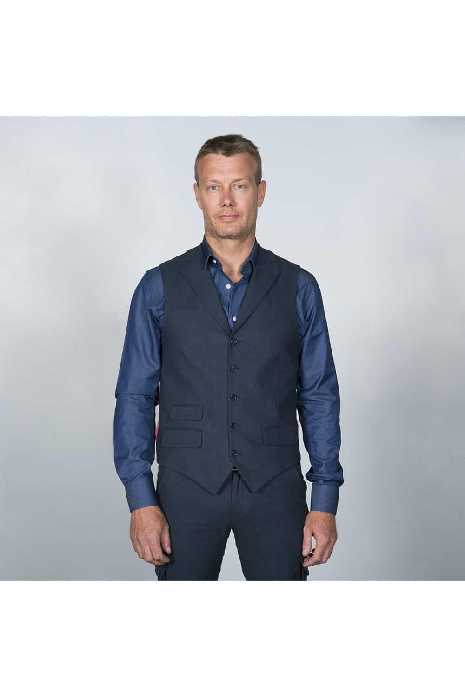 gilet chemise costume coton bleu