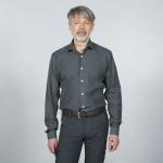 chemise costume gris coton face