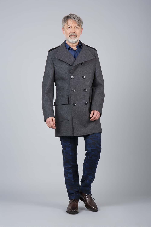 manteau sur mesure gris