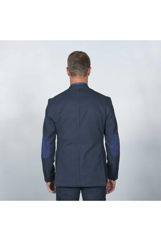 veste fente costume bleu coton