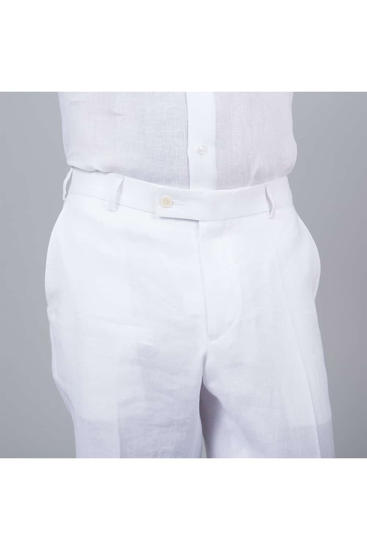 pantalon lin blanc