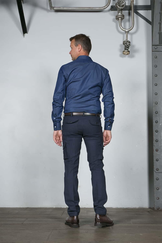 chemise dos bleu tailleur