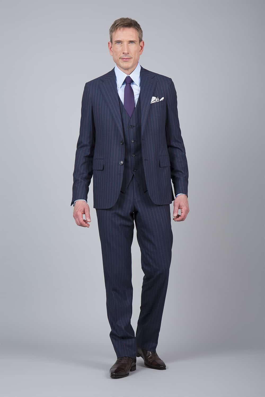 costume rayure bleue 3p tailleur paris