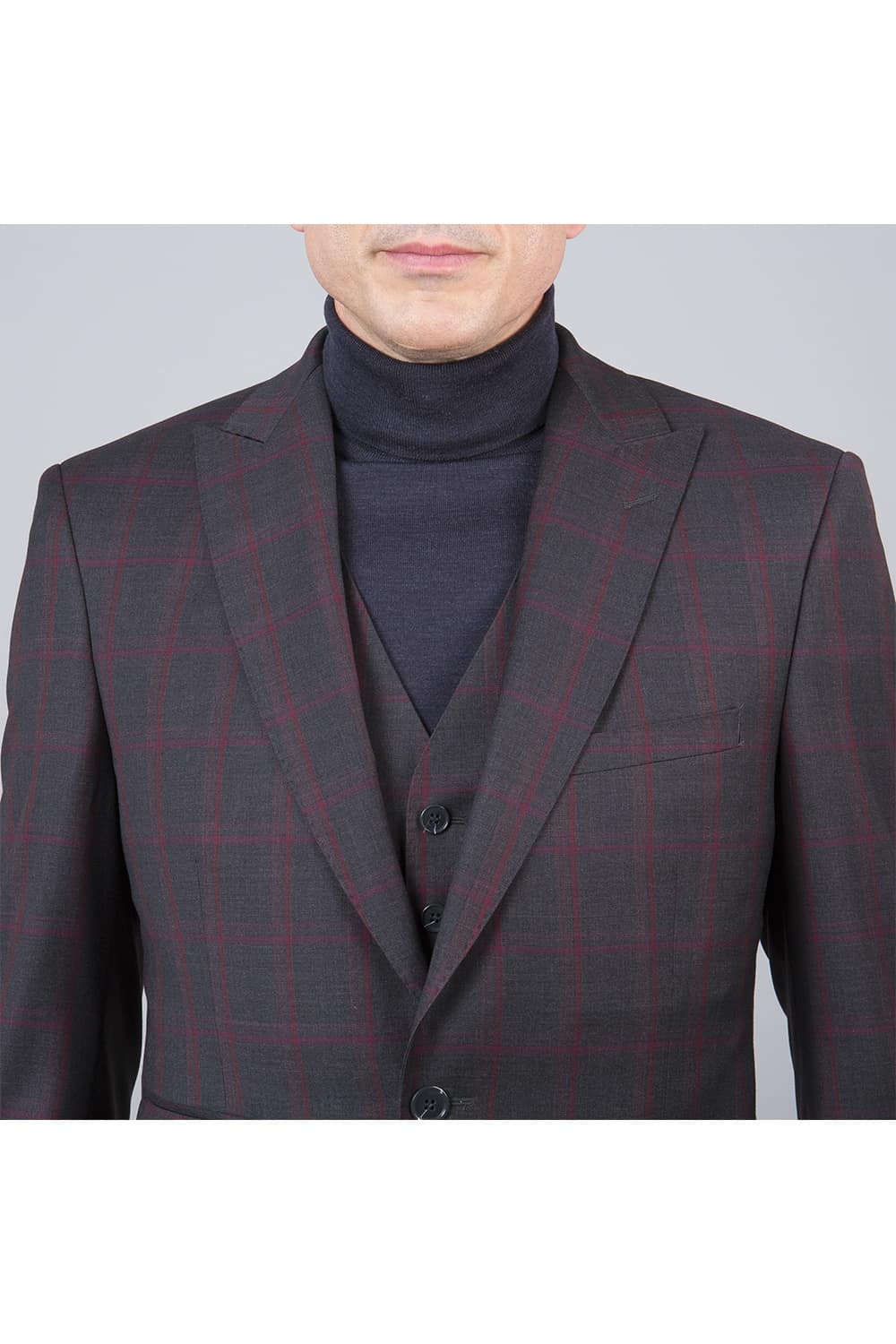 homme revers veston costume carreaux 3p paris