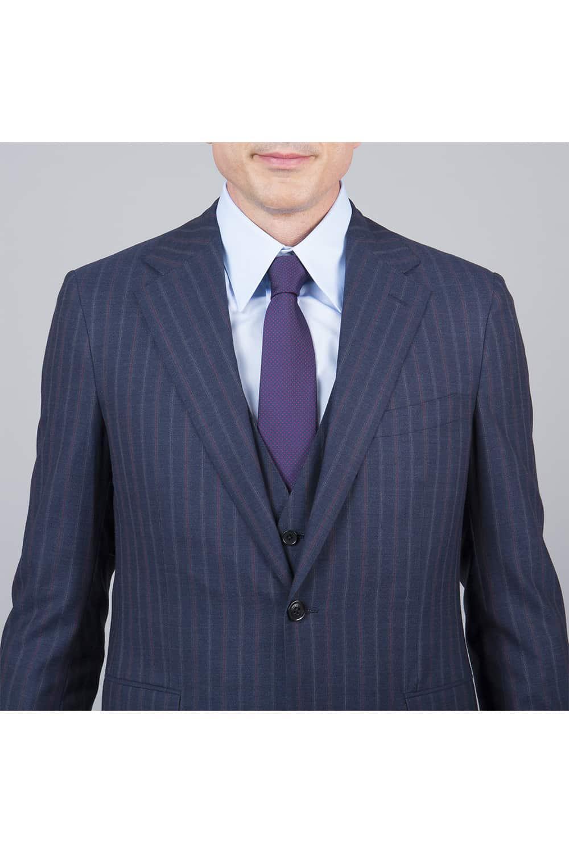 revers costume bleue rayure 3p tailleur paris
