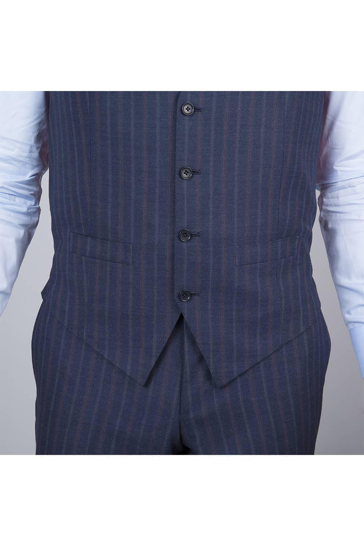 gilet boutons costume bleu 3p