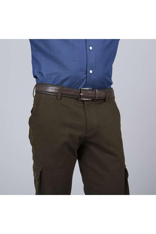 face pantalon coton blouson marron